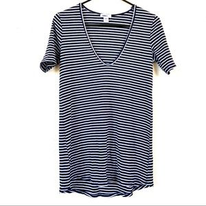 UO BDG Striped Low Neck Tunic Tee Black White M